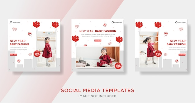 New year sale banner template. for social media instagram post.