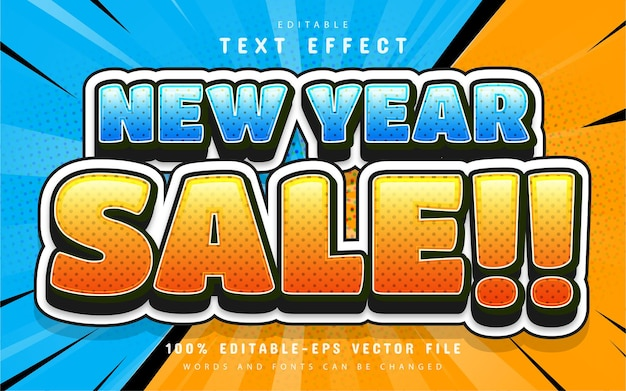 New year sale comic style 3d text effect