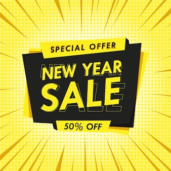 New year sale discount banner in yellow and black perfect for your promotion product template