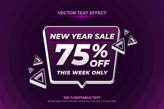 보라색 배경 스타일로 새해 판매 편집 가능한 3d 텍스트 효과