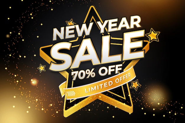 New year sale  editable text effect with black gold backround style