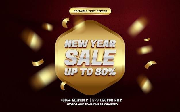 New year sale luxury gold super glossy 3d editable text effect