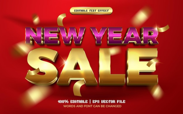 New year sale luxury purple gold editable text effect