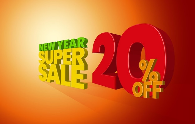 New year sale offer 3d text with 20 percent discount