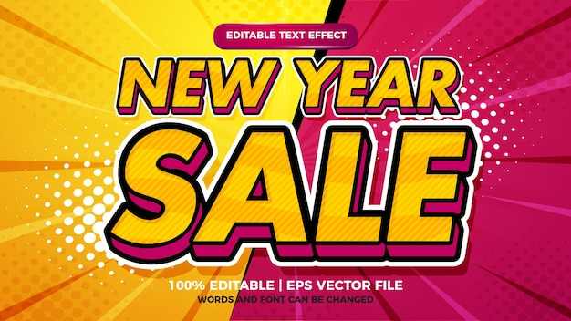 New year sale pop art  cartoon comic style with  3d editable text effect template
