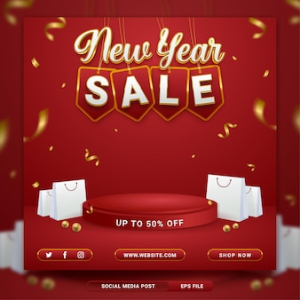New year sale promo social media banner template with shopping bag on red background