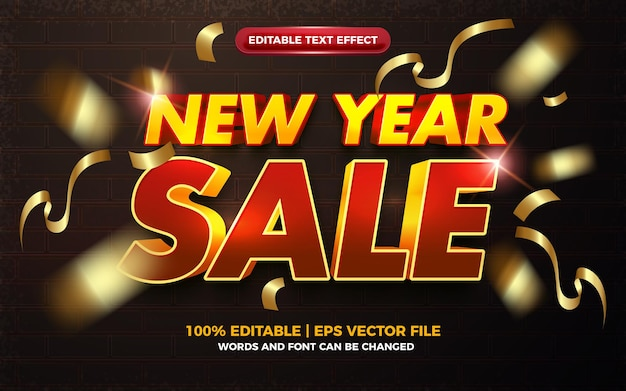 New year sale red yellow bold editabtle text effect