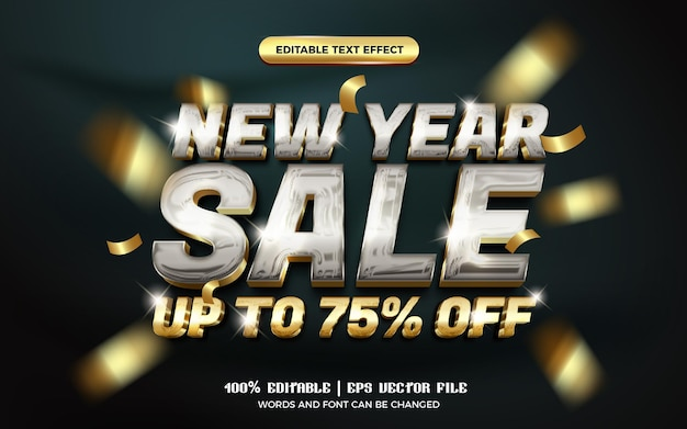 New year sale shiny glass silver gold glossy 3d editable text effect