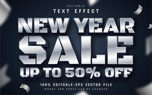 New year sale shiny silver 3d text effect editable