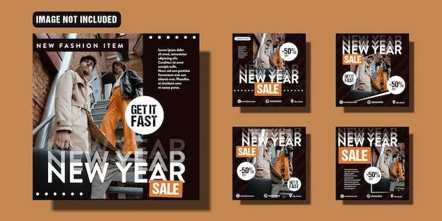 New year sale social media post template set