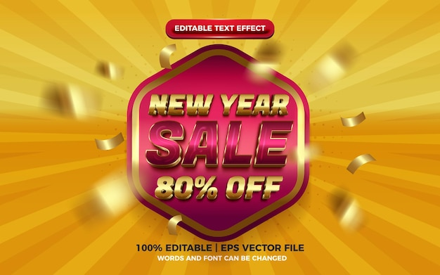 New year sale super glossy badge gold purple yellow 3d editable text effect