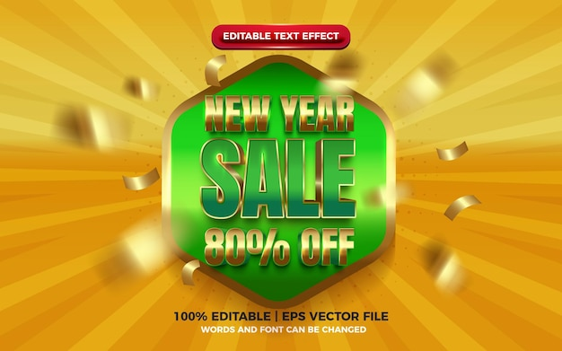 New year sale super glossy badge green yellow 3d editable text effect
