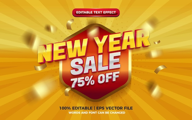 New year sale super glossy red yellow 3d editable text effect