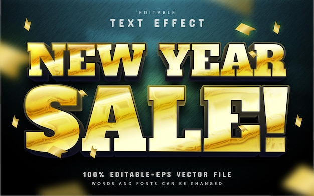 New year sale text effect gold 3d style