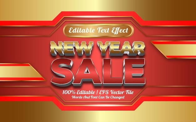 Новогодняя распродажа текстовый эффект в золотом стиле