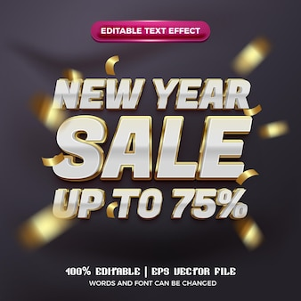 New year sale up to 75% off luxury white gold 3d editable text effect