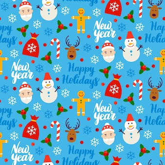 New year seamless background. vector illustration. winter holiday pattern.