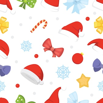 New year seamless pattern of christmas hats and decorations, star, candy, snowflake.