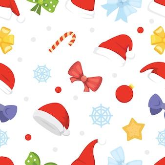 Новогодний фон рождественских шапок и украшений, звезды, конфеты, снежинки.