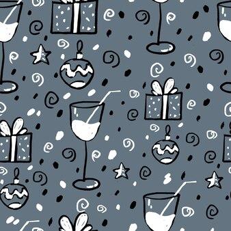 灰色の背景に新年のシームレスなパターン。黒、白、灰色。