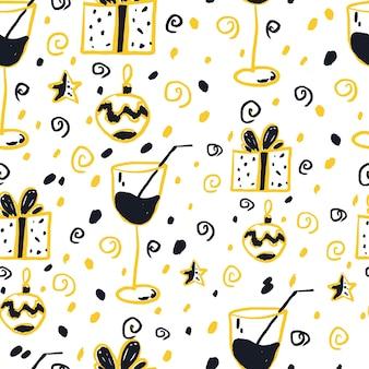 白い背景の上の新年のシームレスなパターン。黒、白、黄色。