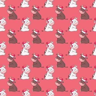 Новый год бесшовные модели с милый мультяшный бык, корова в шляпе санта-клауса
