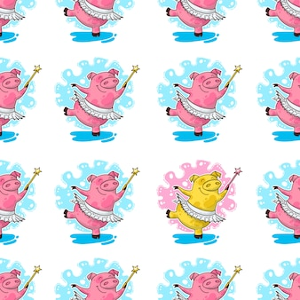 New year seamless pattern with pigs