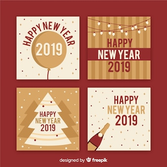 New year sepia cards pack