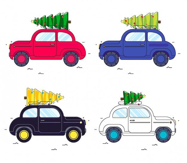 新年。車にクリスマスツリーを乗せてセットします。ラインスタイルの車のイメージ。赤い車と緑のクリスマスツリー