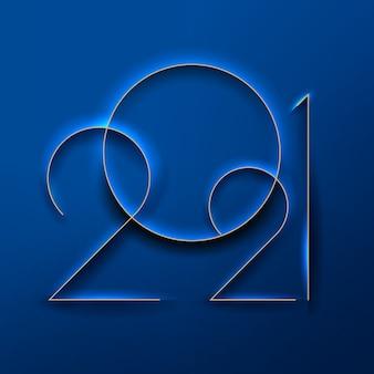 新年のサインクラシックな青い背景にエンボス加工された新年の数字