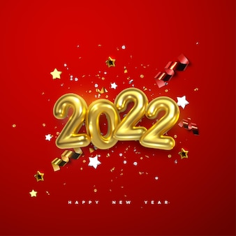 New year sign of2022 golden number and festive confetti stars and spiral ribbons on red background