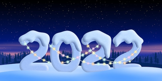 새해, 눈 덮인 숫자 2022, 밤 풍경을 배경으로 눈 더미