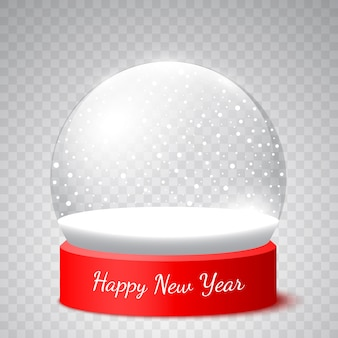 New year snow globe on transparent background.  illustration.