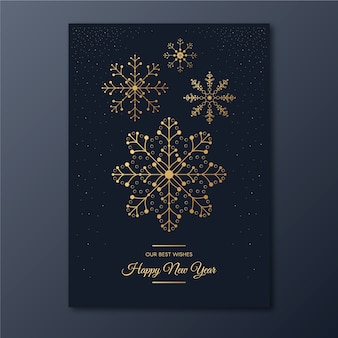 New year snowflake party poster template in outline style