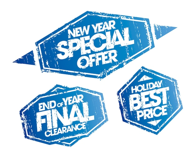 New year special offer, end of year final clearance and holiday best price stamps set