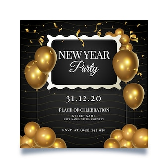 New year square flyer template