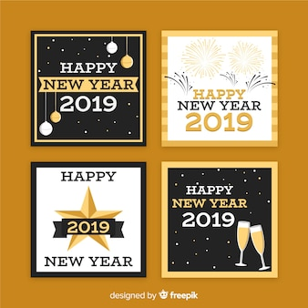 New year squared cards pack