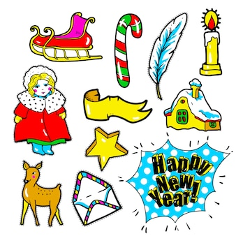 New year stickers, pins, patches in cartoon 80s-90s comic style