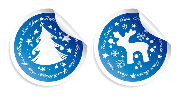 New year stickers set with fir and deer