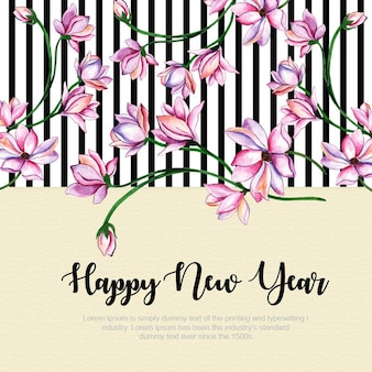 New Year Strip Floral Background