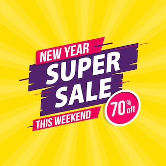 New year super sale template banner design