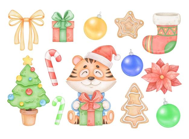 Новый год символ тигр и новый год акварель клипарт