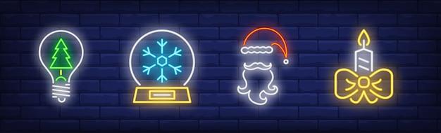 ネオンスタイルで設定された新年のシンボル