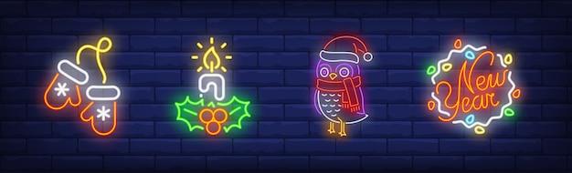 Simboli di capodanno impostati in stile neon