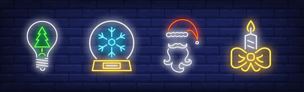 New year symbols set in neon style