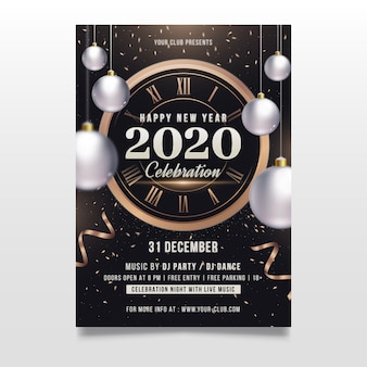 New year template concept for party