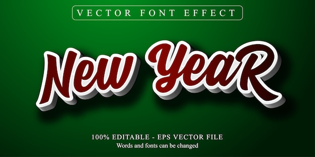 New year text, editable text effect