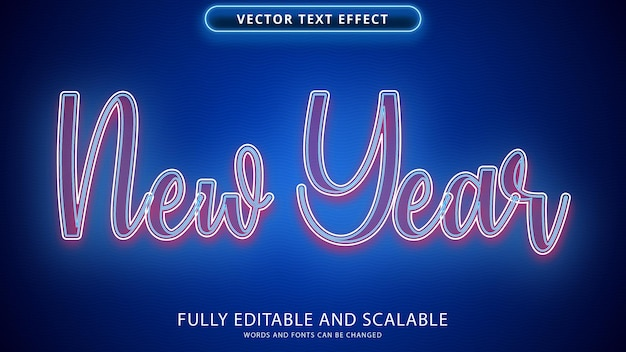 New year text effect editable eps file