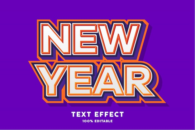 New year - text effect, editable text