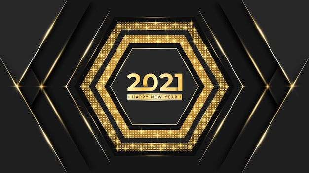 New year text and luxury background design with golden pattern
